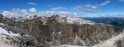 Panoramic view of steep rocks and cliffs in the dolomites Stock Images