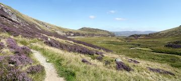 Panoramic view by Sticks Gill with Sheffield Pike ahead Royalty Free Stock Photos