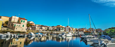 Panoramic view of Stintino old harbor stock photography