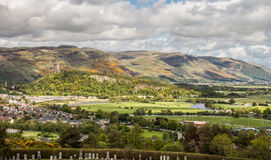 Panoramic view of Stirling. As seen from the Stirling Castle, with the National Wallace Monument in the background Stock Photo