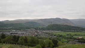Panoramic view of Stirling Scotland UK with the countryside and town from the famous castle stock video