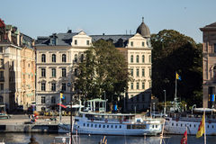 Panoramic view of Stockholm, Sweden. Waterfront of Stockholm. Summer season. River bank, promenades and beautiful Scandinavian architecture Royalty Free Stock Photos