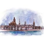 The panoramic view of Stockholm  watercolor Stock Photography