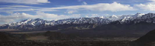 Panoramic view of Stok Range from Leh city in Winter, North of India Stock Photography