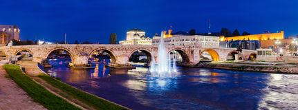 Panoramic view on Stone stone bridge Royalty Free Stock Photography