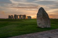 Panoramic view of Stonehenge monument. Colorful sunset in United Kingdom royalty free stock photos