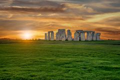 Panoramic view of Stonehenge monument. Colorful sunset in United Kingdom stock photo