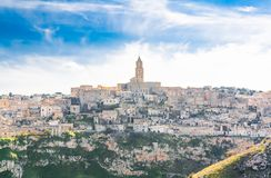 Panoramic view of stones of Matera under blue sky Stock Photography