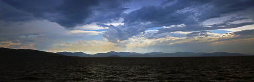 Panoramic view of a storm that builds on the Mediterranean sea Royalty Free Stock Photography