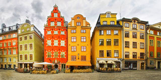Panoramic view  of Stortorget place in Gamla stan, Stockholm Stock Photo