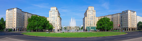 Panoramic view of Strausberg Square in Berlin. Panoramic view of Strausberg Square in the district of Friedrichshain, Berlin Stock Photo