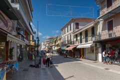 Panoramic view of street in Lefkada town, Ionian Islands, Greece. LEFKADA TOWN, GREECE - JULY 17, 2014: Panoramic view of street in Lefkada town, Ionian Islands royalty free stock photos