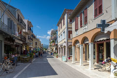 Panoramic view of street in Lefkada town, Ionian Islands, Greece. LEFKADA TOWN, GREECE - JULY 17, 2014: Panoramic view of street in Lefkada town, Ionian Islands royalty free stock image