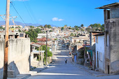 Panoramic view of street in Santiago de Cuba royalty free stock photo