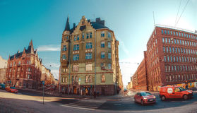 Panoramic view of the streets and buildings of Katajanokka Royalty Free Stock Photo