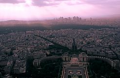 Panoramic view of the streets of Paris at the end of the afternoon, with the last sunbeams falling over the city, from the Eiffel royalty free stock photos