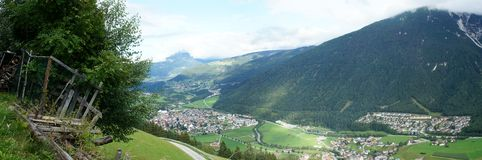 Panoramic view into the Stubai Valley Stock Photos