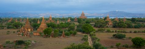 Panoramic view of stupas and temples in Bagan stock photo