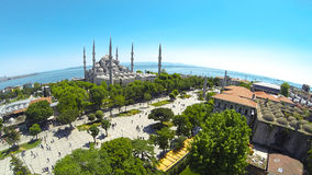 Panoramic view of Sultanahmet. Cami and Square from above. Blue Mosque Aerial Stock Photo