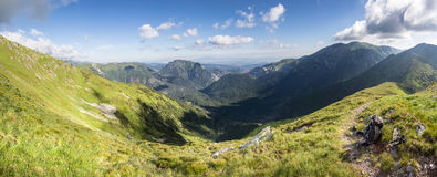 Panoramic view of summer mountain valley Royalty Free Stock Photos