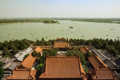 Panoramic view on Summer Palace in Beijing royalty free stock images