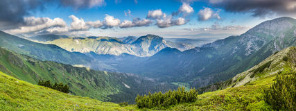 Panoramic view of summer slovak West Tatras mountains Royalty Free Stock Images