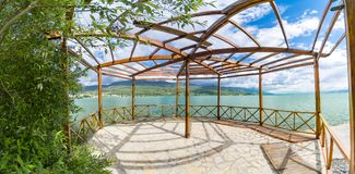 Panoramic view of summer wooden terace of luxury vila on coast of Ohrid. Lake in Macedonia royalty free stock images