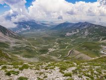 Panorama from the summit of the mountain stock image