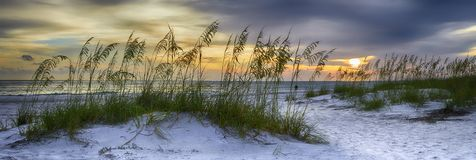 Holmes Beach. Panoramic view of Sun setting over Holmes Beach, Anna Maria Island,Manatee County,America royalty free stock photography