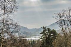 Panoramic view of the sunbeams reflecting in the Doyards Lake royalty free stock image