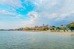 Panoramic view of the  Sunny Beach on the Black Sea coast of Bulgaria. Blue bulgarian clouds coastline day horizontal morning people nobody outdoor outside stock photography