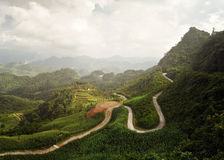 Panoramic view of the sunny valley in Ha Giang Province, North V Royalty Free Stock Images