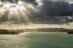 Panoramic view at Sunrise in St. John`s, Antigua and Barbuda royalty free stock image