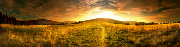 Panoramic view of the sunrise in the Tatra mountains Royalty Free Stock Photos