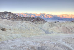 Panoramic view at sunrise of Zabriskie Point,Death Valley Royalty Free Stock Photos