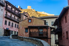 Panoramic view at sunset in Albarracin, Spain Royalty Free Stock Images