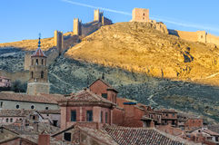 Panoramic view at sunset in Albarracin, Spain Royalty Free Stock Photo