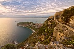 View from castle Palamidi. Panoramic view of the sunset from fortress Palamidi in Nafplion royalty free stock photography