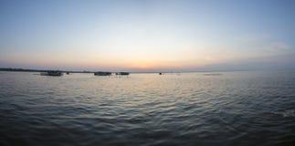 Panoramic view of the sunset on the Lake Maracaibo, Venezuela Royalty Free Stock Image
