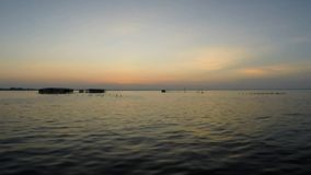 Panoramic view of the sunset on the Lake Maracaibo, Venezuela stock video footage