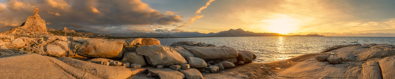 Panoramic view of sunset over Calvi in Corsica Royalty Free Stock Photos