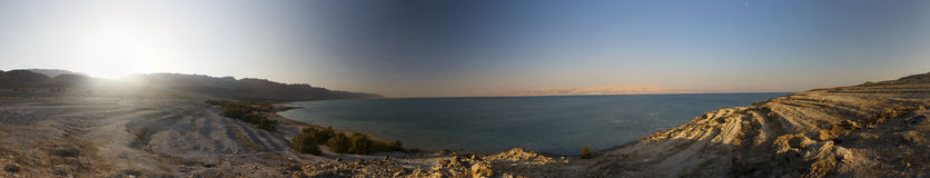 Panoramic view on the sunset over the Dead sea Stock Photo