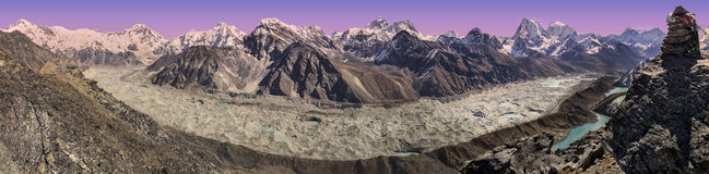 Panoramic view of sunset over Everest Mountain Range, Nepal. Royalty Free Stock Photo
