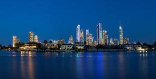 Panoramic view of sunset over Surfers Paradise Royalty Free Stock Photo