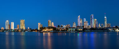 Panoramic view of sunset over Surfers Paradise Royalty Free Stock Images