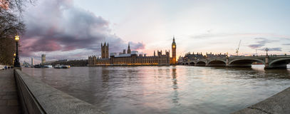 Panoramic view at sunset over Westminster Stock Image