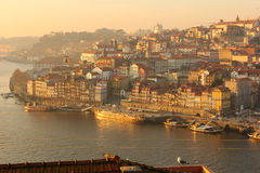 Panoramic view at sunset. Porto. Portugal stock photography