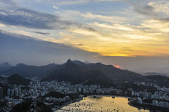 Panoramic view at sunset in Rio de Janeiro, Brazil Stock Images