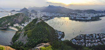 Panoramic view at sunset in Rio de Janeiro, Brazil Royalty Free Stock Photography