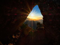 Panoramic view at sunset from Roque Nublo peak on Gran Canaria Stock Image